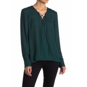 Wayf Green Lace-Up Neck Blouse sz XS